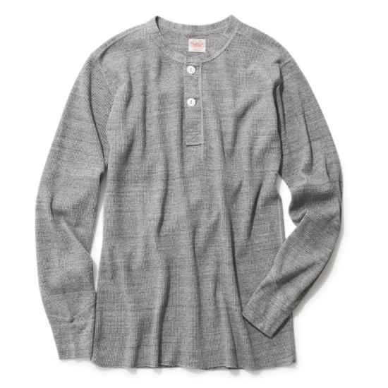 オープンエンドワッフル ヘンリーネック 長袖Tシャツ
